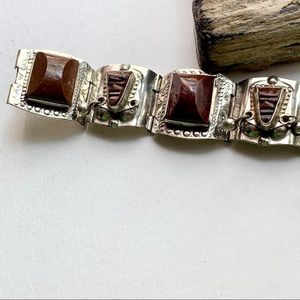Vintage Jewelry - Vintage Signed Mexican Silver Bracelet Brown Stone